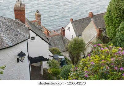 View down to rooftops and sea at Clovelly in Devon, England.