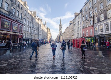 View down the Royal Mile on January 20,2018, Edinburgh, Scotland UK