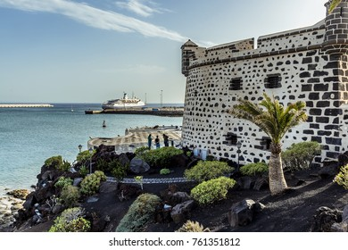A view down the side of the castle of San Jose in Arrecife, Lanzarote on a bright sunny afternoon