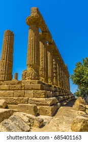 The view down the side of the Temple of Juno in the ancient Sicilian city of Agrigento, in summer