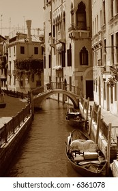 View down a small canal in Venice, Italy