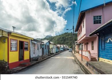 View down a typical rural street of a caribbean island village