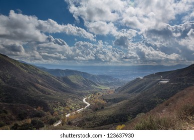 View down valley towards San Bernadino in California from Route 18 Rim of the World Highway