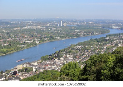 View downstream River Rhine overlooking Koenigswinter and Bonn. Germany.