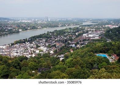 View downstream River Rhine overlooking Koenigswinter, Bad Godesberg & Bonn from North Tower, Schloss Drachenburg