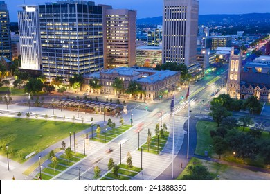 View of downtown area in Adelaide, South Australia, at twilight