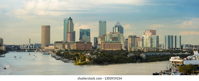 View of the downtown area of Tampa, Florida and port from the South. Logos have been removed. An editorial version with business names is also available in portfolio.