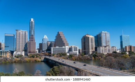 View of Downtown Austin Texas With Clear Blue Skies in Winter Day