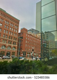View of Downtown Boston city street & buildings (view from South Station)