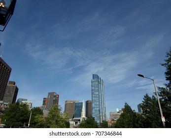 View of downtown Boston from Boston Common, Boston, Massachusetts, USA
