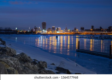 A View Of Downtown Buffalo New York skyline from Different perspective. Erie Basin Marina A View Of Downtown Buffalo New York from Erie Basin Marina locating on Buffalo Outer harbor long exposure.
