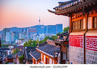 view of downtown at bukchon hanok traditional village seoul south korea