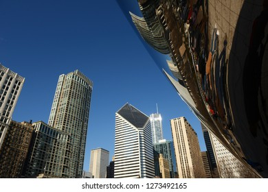 View of Downtown Chicago with buildings and Bean on the foreground
