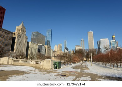 View of downtown Chicago with tall buildings and blue skies
