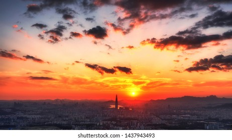 View of downtown cityscape and Seoul tower in Seoul, South Korea.