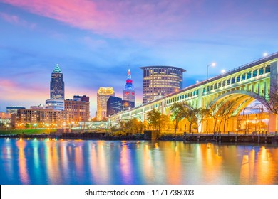 View of downtown Cleveland skyline in Ohio USA at sunset