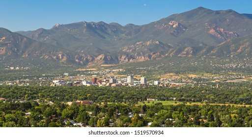 View of Downtown Colorado Springs with the Rocky Mountains in the background