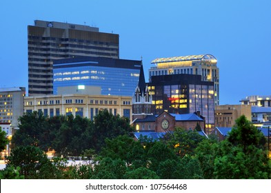 View of downtown Columbia, South Carolina from FInlay Park.