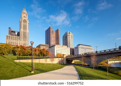 View of downtown Columbus Ohio skyline in USA