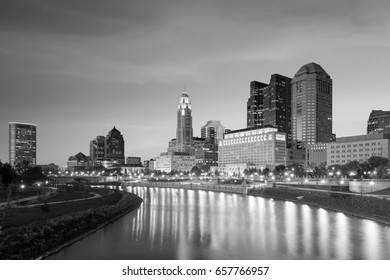 View of downtown Columbus Ohio Skyline at twilight