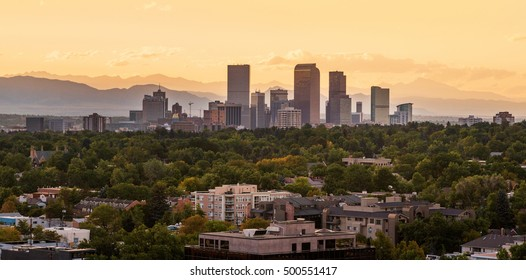 View of Downtown Denver with the Colorado Rockies behind
