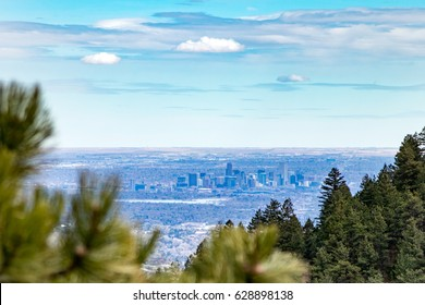View of downtown Denver Colorado skyline from the top of Lookout Mountain Road in the foothills