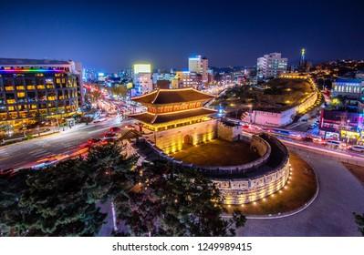 view of downtown at dongdaemun gate in seoul south Korea