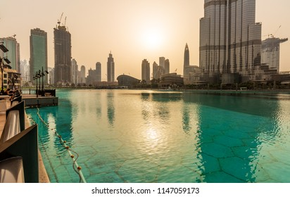 View of Downtown Dubai and Burj Khalifa during Sunset. Dubai - UAE. 22 July 2018