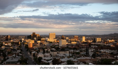 View of downtown El Paso, Texas at sunset