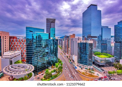 view of downtown at gangnam square at seoul city korea