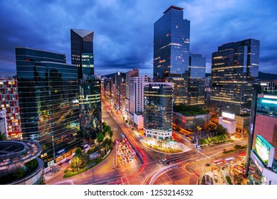 view of downtown at gangnam square in Seoul south Korea