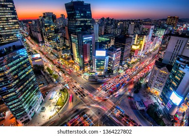view of downtown at gangnam square in seoul city south Korea