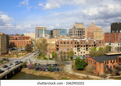 A view of downtown Greenville South Carolina under a sunny sky.