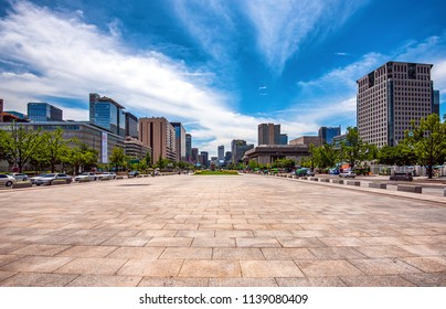 view of downtown at gwanghwamun square in seoul korea:8 july 2018