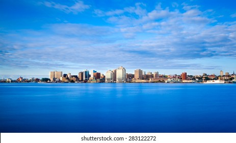 View of downtown Halifax from Dartmouth with the waterfront and Purdy's Wharf, Halifax, Nova Scotia, Canada.