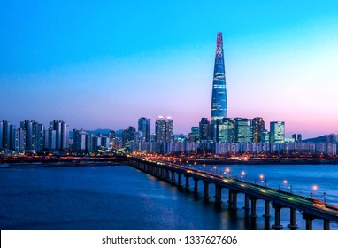 view of downtown at han river in seoul city south Korea