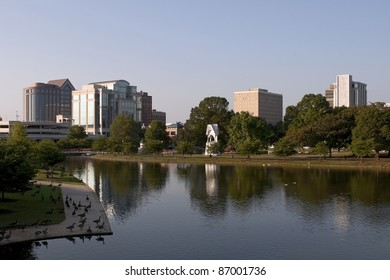 A view of downtown Huntsville, Alabama at sunset.