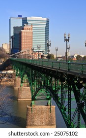 A view of downtown Knoxville from the Gay Street Bridge.
