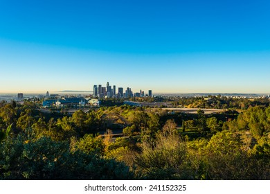 View of downtown Los Angeles and Dodger Stadium in early morning from Elysian park