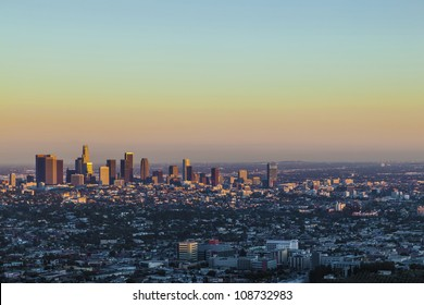 view to downtown Los Angeles in the late afternoon from Griffith Park