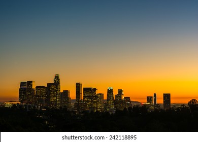 view of the downtown los angeles lights at sunset from Elysian Park