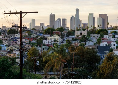 View of Downtown Los Angeles from residential neghborhood