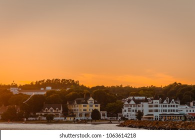 view of downtown Mackinac Island at sunset