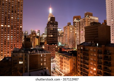 View of downtown Manhattan at night from my window