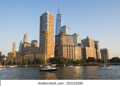 View of the Downtown Manhattan skyline from the Hudson River