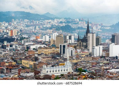 View of downtown Manizales, Colombia with the cathedral visible