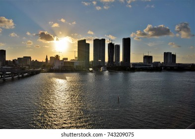 View of downtown Miami and its many new real estate developments. The silhouettes of buildings and cranes with a beautiful sunset in the background.