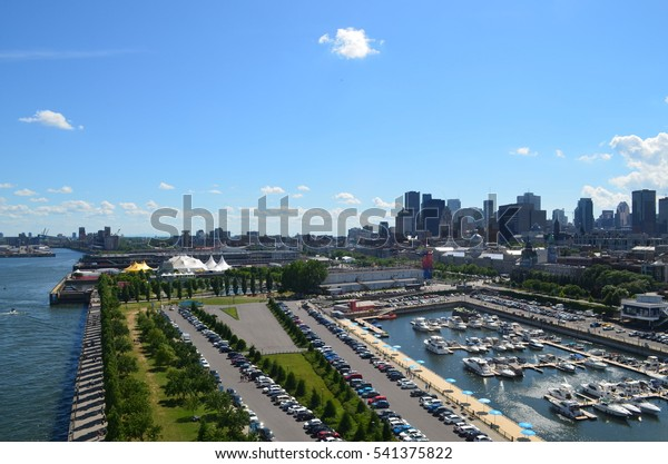 View of downtown Montreal and the Old Port from the Clock Tower
