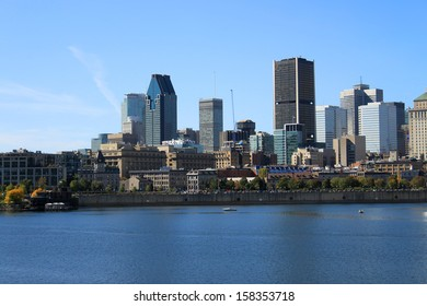 View of downtown Montreal, Quebec, Canada from across the St. Lawrence River