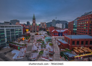 view of downtown at myeong dong market in  seoul city korea:20 december 2017 seoul korea